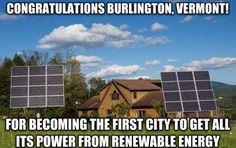 Burlington, Vermont's electricity is powered 100% by renewables!