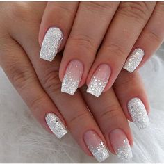 Cute Acrylic Nails, Acrylic Nail Designs, Fun Nails, Pretty Nails, Nail Art Designs, Nails Design, Silver Nail Designs, Coffin Nails Ombre, Ombre Nail