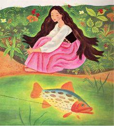 Branca de Neve e Rosa Vermelha, ilustração de Gustaf Tenggren via My vintage book collection (in blog form).