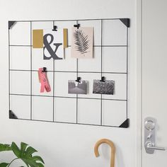 IKEA - SÖSDALA, Memo board with clips, black, On this memo board you can display notes, papers and other things that you need to remember and keep track of ― perfect for places like the kitchen or a hallway. Small Storage Boxes, Storage Caddy, Grid Panel, Office Paint, Metal Grid, Wall Organization, Powder Coating, Things To Come, Packaging