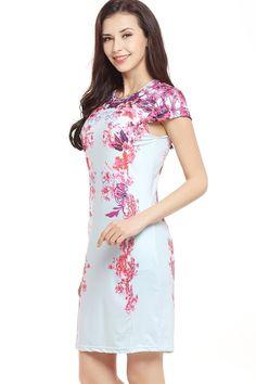 c401b61961 Chicloth Short Sleeves Flower Prints Bodycon Casual Dresses Sexy Women Slim  Robes Vintage