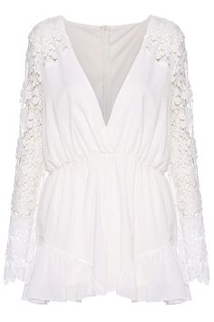 ROMWE | Deep V Floral Playsuits-White, The Latest Street Fashion