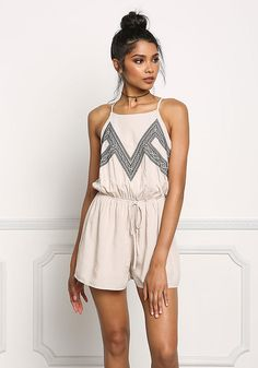 8b23662a878d Taupe Tribal Embroidered Drawstring Romper - Jumpsuits   Rompers - Clothes  Daily Fashion