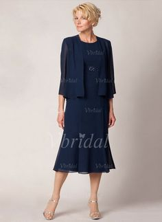 Mother of the Bride Dresses - $119.99 - Trumpet/Mermaid Scoop Neck Tea-Length Chiffon Mother of the Bride Dress With Ruffle Beading (0085095772)