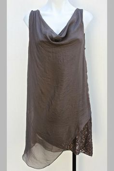 Brown Silk & Viscose Cowl Neck Dress w/ Lace Detail