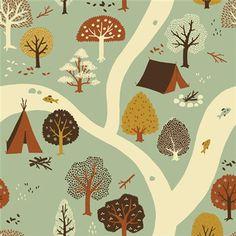 Firefly Creek by Birch Fabrics - 1/2 Yard - Teagan White - Fort Firefly Fabric - Birch Fabrics - Organic Cotton - Camping Fabric - Tents on Etsy, $8.25