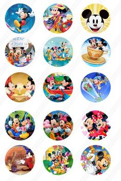 Mickey Mouse Collage 1 inch round for bottle cap sheet 4x6 534