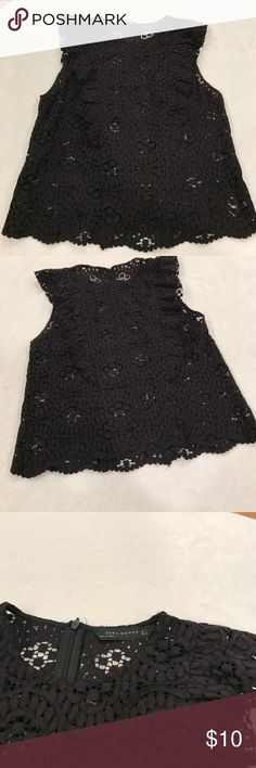 Zara sleeves lace black top Excellent condition dress it up or for your perfect outfit with jeans Zara Tops Blouses