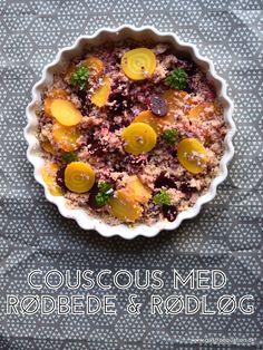 Lækker tilbehørssalat med couscous, rødbeder og rødløg. Kan spises både kold og varm. Er også god dagen derpå i madpakken.