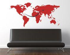 World Map Wall Decal 3 Planes Jetstream by Zapoart on Etsy. $39.00, via Etsy.