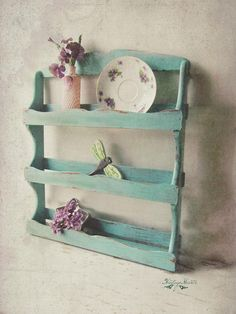 Shabby Chic Home Decor Upcycled Furniture, Shabby Chic Furniture, Shabby Chic Decor, Rustic Furniture, Painted Furniture, Wood Spice Rack, Spice Shelf, Plate Display, Display Shelves