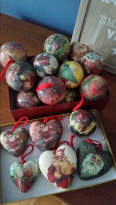 Wrapping paper mod podge to christmas balls