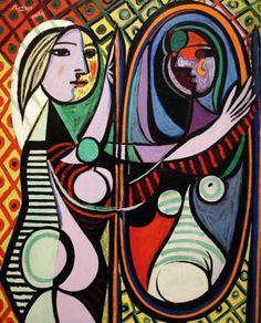 Reproduction de Picasso, Jeune fille devant un miroir. Tableau peint à la main dans nos ateliers. Peinture à l'huile sur toile.