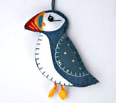Felt Christmas ornament, Felt puffin ornament, Felt bird ornament, Handmade bird…