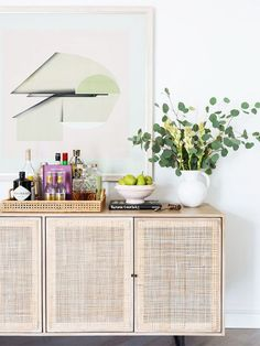 Home Remodel Color Scheme Sideboard entry console table abstract art cool wood floors white vase bar tray serving tray Urban Outfitters Home, Minimalist Furniture, Selling Furniture, Rustic Furniture, Bedroom Furniture, Accent Furniture, Interiores Design, Home And Living, Home Remodeling