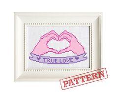 True Love Heart Hands Valentine's Day Cross by TheStrandedStitch