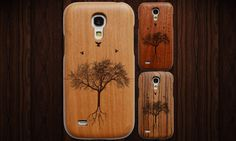 Wood Samsung Galaxy S4 Mini case, available in cherry, sapele or zebra.  Fits the Samsung Galaxy S4 Mini, with full button/socket access. Made from real wood, then laser engraved to extremely high detail. Free screen protector included.  This is a slender two-piece case, crafted from a single piece of wood. This means the two halves are a perfect match for both grain and size. They slide together and hold securely in place - though it can be easily removed if necessary - ensuring a perfect…