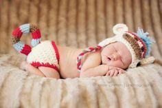 Sock monkey hat and diaper cover set, crochet earflap hat, newborn photography prop, crochet, hat,. $52.00, via Etsy.