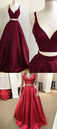 two piece long prom dresses, 2018 long prom dresses, burgundy prom dresses, red prom dresses