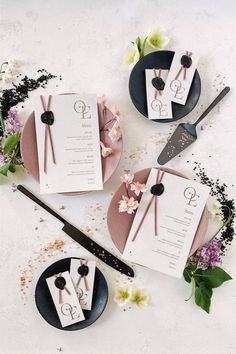 A simple, but impactful detail if you're having a more formal celebration? Wedding MENUS! 💜 This unique stationery design will inspire you to think beyond the classic paper menu. After all, why wouldn't you want to introduce your food and drinks in style?! 🥂   LBB Stationery: @inquisited #stylemepretty #weddingstationery #weddingmenu Stationery Design, Wedding Stationery, Wedding Invitations, Modern Invitation Suites, Wedding Decorations, Table Decorations, Wedding Menu, How To Introduce Yourself, Style Me