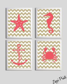 Chevron Beach Ocean Sea Coral Sand more by ZeppiPrints. Tons of customizable prints!