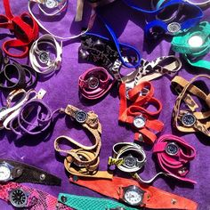 Leather watches at San Telmo Sunday Market in Buenos Aires Argentina