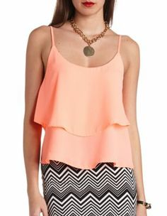 strappy backless ruffle tank top  this will look good with so many bottoms, like cute flowery shorts, skirts, or you can even wear it with some colorful leggings. A summer must have! :)