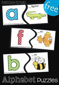 Free Alphabet Puzzles! Great for literacy centers with preschool and kindergarten kids to work on matching the beginning sound with the right letter! #abcfun #alphabetfreebies #literacycenters #playdoughtoplato