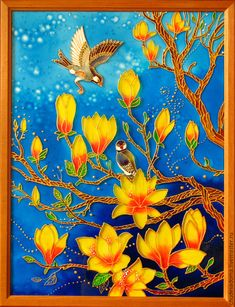 """Stained glass painting """"Chinese yellow magnolia"""""""