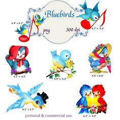 Clip Art: Vintage Bluebirds    Transparent Png  Files 071. $3.00, via Etsy.