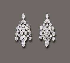 Diamond Chandelier Earrings, Diamond Pendant, Diamond Jewelry, Cute Earrings, Stone Earrings, Ring Earrings, Jewellery Sketches, Luxury Jewelry, Jewelery
