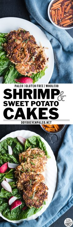 This Vietnamese-inspired shrimp & sweet potato recipe uses either white sweet potatoes or yams. Pan-fried cakes come together quickly. It's a paleo and recipe, too! Works well for meal prep or a healthy dinner recipe Gluten Free Recipes For Kids, Best Gluten Free Recipes, Whole 30 Recipes, Easy Recipes, Paleo Dinner, Healthy Dinner Recipes, Food Dishes, Main Dishes, Seafood Recipes