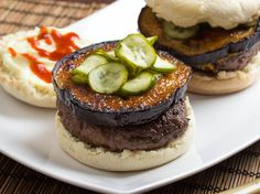 Japanese Miso-Glazed Eggplant Burgers With Fresh Pickles   Serious Eats : Recipes