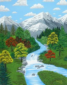 Valley Stream 16x20 Acrylic Painting on by AcrylicsAndBeyond, $160.00
