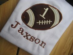 Personal Football Sports Applique Embroidered First Birthday Onesie or shirt.  Great for birthdays of any age.. $20.00, via Etsy.