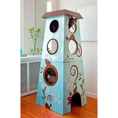 @Overstock - Your cute and furry friends will feel right at home in this large cat castle featuring a unique whimsical design. This corrugated cardboard and metal cat house is a wonderful playplace for your favorite kitties. Theyll love looking out the windows.http://www.overstock.com/Pet-Supplies/Catemporary-Cat-Castle-Large/6803185/product.html?CID=214117 $69.99