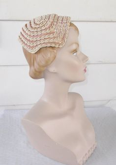 Please like my Facebook Page http://www.facebook.com/MyVintageHatShop for exclusive discounts and promotions.  Lovely vintage hat from the late