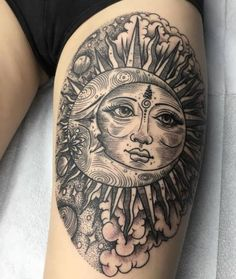 Tattoo sun, moon and clouds  - http://tattootodesign.com/tattoo-sun-moon-and-clouds/  |  #Tattoo, #Tattooed, #Tattoos