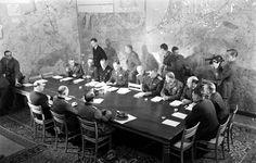 Scene at German surrender in World War II, Reims, France, May 7, 1945.