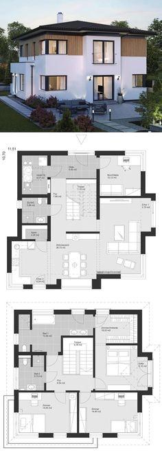 Moderne Landhaus Stadtvilla mit Walmdach Architektur & Holz Fassade - Einfamilienhaus bauen Grundriss Ideen Fertighaus ELK Haus 161 - HausbauDirekt.de