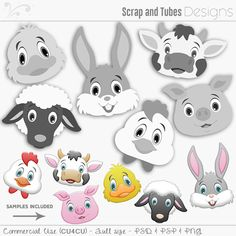 🐮 CUTE ANIMAL FACES TEMPLATES by Scrap and Tubes Designs 🐥 6 full sizes digital templates • PSD & PSP • Samples included • CU4CU 🐰Available here ► The Digital ScrapBook Shop >> http://bit.ly/2lr9KHJ // ► Scrap and Tubes Store >> http://bit.ly/1Sf6GnC