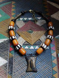 ARTISAN designer beadart necklace with old bronze African Tuareg talisman…