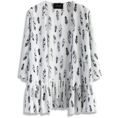 Chicwish Contrast Feathers Open Cardigan in White ($30) ❤ liked on Polyvore featuring tops, cardigans, outerwear, jackets, kimono, white, tribal open cardigan, cardigan kimono, open front cardigan and white kimono cardigan