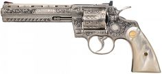 Custom Engraved Colt Python Double Action Revolver with Pearl Grips