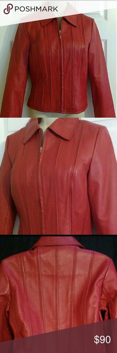 """🎄 Genuine Red Leather Victoria's Secret Jacket 🎀 🎅 Gorgeous 100% genuine soft leather sporty but feminine motorcycle jacket, size X-Small. This jacket is made by Moda International for Victoria's Secret. The jacket has a cool vertical stitched design on both the front & back and a 100% silky polyester lining. It tapers at the waist for a siloutte fit. The measurements lying flat: Chest 32"""" across (armpit to armpit) ~ Sleeves 23"""" long ~ Overall length 20""""  This beautiful jacket is BRAND…"""