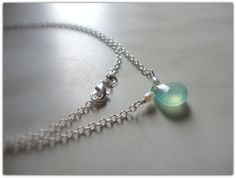 I found 'Shiny Sterling Silver 925 necklace, with a natural sea foam teardrop chalcedony.' on Wish, check it out!