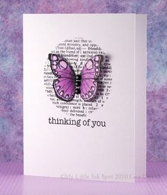"""card butterfly butterflies Hero Arts stamp set Karen Pedersen: All Occassion Card: """"Happy Thoughts"""" Pretty Cards, Cute Cards, Quick Cards, Tarjetas Diy, Hero Arts Cards, Karten Diy, Butterfly Cards, Simple Butterfly, Card Making Inspiration"""
