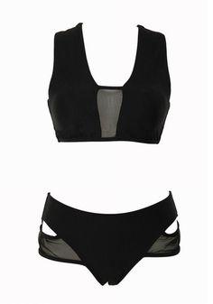Front side of black mesh bikini set