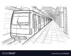 Hand drawn sketch saint petersburg subway station vector image on VectorStock 1 Point Perspective Drawing, Perspective Art, Architecture Concept Drawings, Watercolor Architecture, Train Sketch, Line Sketch, House Drawing, Art Sketches, How To Draw Hands
