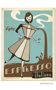Espresso Italiano Metal Sign | Cafe Tin Signs | RetroPlanet.com